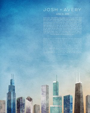 CHICAGO KETUBAH cityscape skyline contemporary art modern judaica jewish wedding