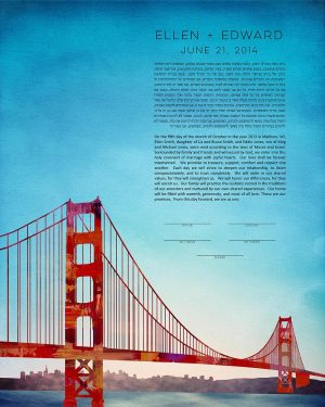 San francisco KETUBAH cityscape skyline colorado contemporary art modern judaica jewish wedding