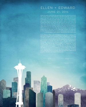 seattle KETUBAH cityscape skyline contemporary art modern judaica jewish wedding