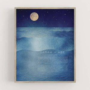 Full Moon Ketubah Ocean Sea Night Mystical