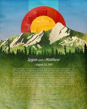 Flatirons with Flag ketubah