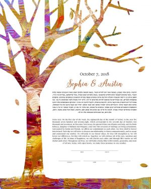 Tree of Life Autumn Ketubah fall wedding contemporary abstract art
