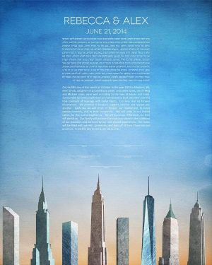new york city KETUBAH cityscape skyline contemporary art modern judaica jewish wedding