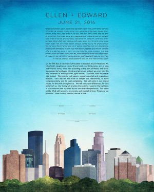 twin cities KETUBAH minneapolis st. paul Minnesota cityscape skyline colorado contemporary art modern judaica jewish wedding