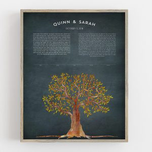 Fall Tree Ketubah minimalist tree of life autumn fall wedding