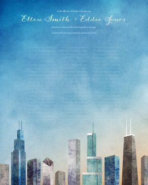 Chicago Wedding Certificate Quaker Marriage Certificate Illinois cityscape skyline
