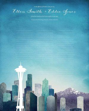 Seattle wedding certificate washington state skyline cityscape quaker marriage certificate