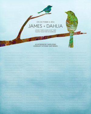 Song Birds wedding certificate quaker marriage certificate