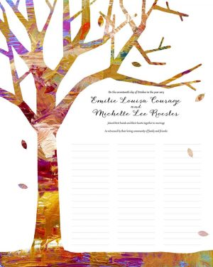 Tree of Life in Fall wedding certificate quaker marriage certificate