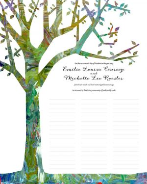 Tree of Life in Spring wedding certificate quaker marriage certificate