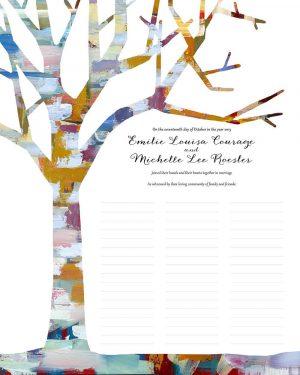 Tree of Life in Winter Wedding Certificate Quaker Marriage Certificate