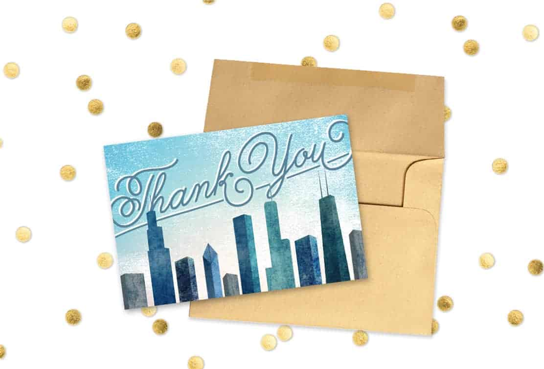 Free Printable Thank You Card Chicago