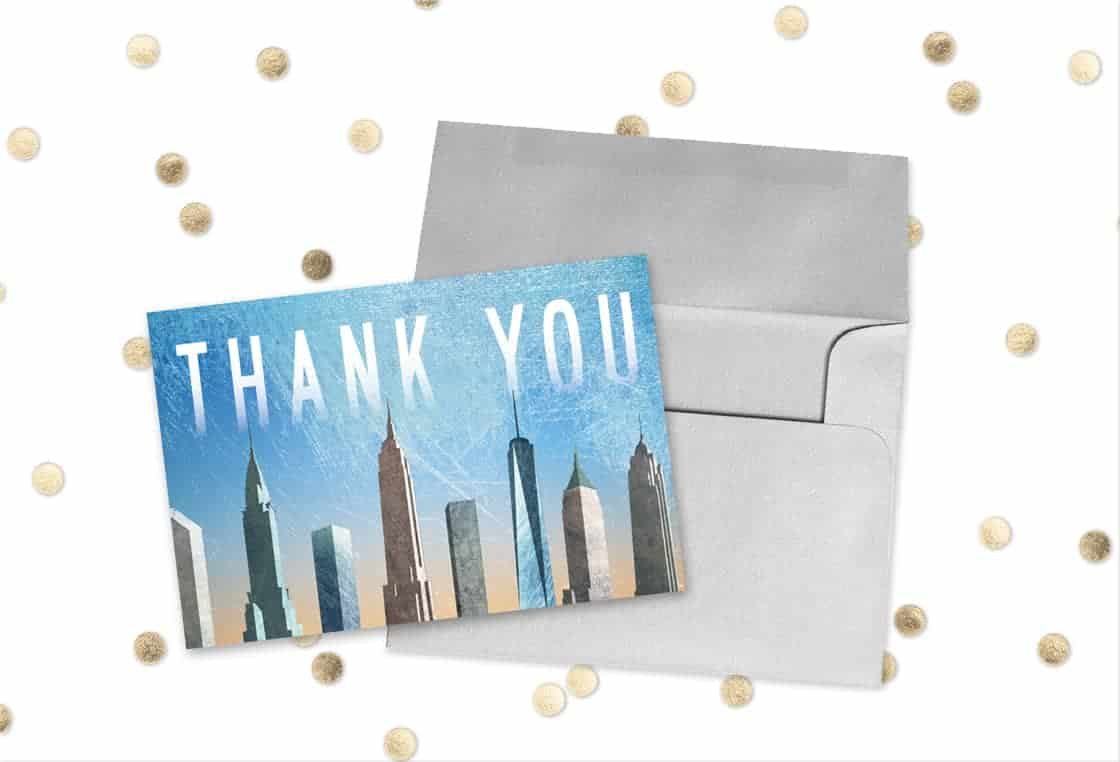 New York Wedding Free Thank You Card Design