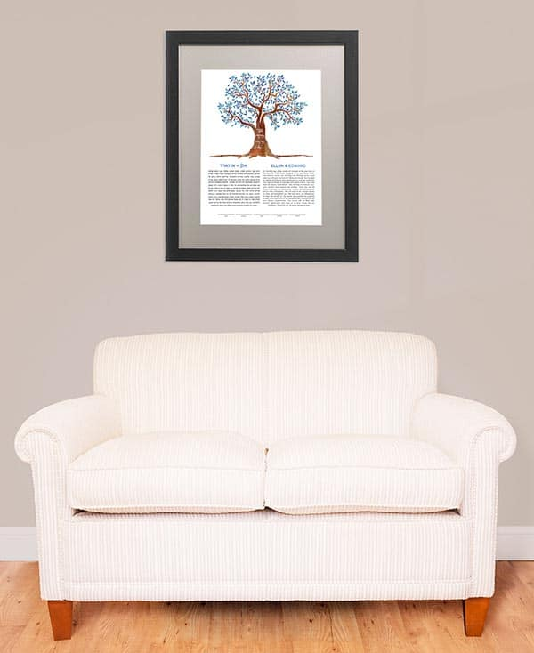 WINTER Tree KETUBAH contemporary art modern judaica jewish wedding blue tree of life