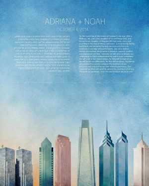 philadelphia KETUBAH cityscape skyline contemporary art modern judaica jewish wedding
