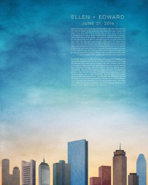boston KETUBAH cityscape skyline colorado contemporary art modern judaica jewish wedding