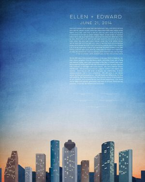 houston KETUBAH texas cityscape skyline colorado contemporary art modern judaica jewish wedding