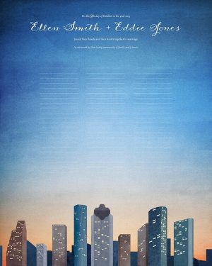 Houston wedding certificate texas skyline cityscape quaker marriage certificate