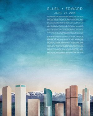 DENVER KETUBAH cityscape skyline colorado contemporary art modern judaica jewish wedding