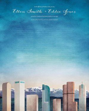 Denver wedding certificate colorado skyline cityscape quaker marriage certificate