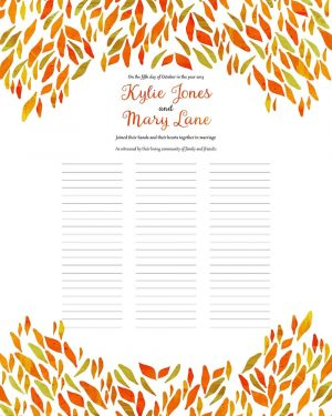 Spring Abstract Persimmon wedding certificate