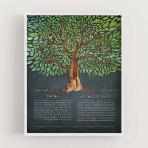 Tree of Life - I Am My Beloved's Ketubah - Dusk Ani L'Dodi Green Secret Message