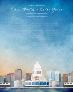 Madison wedding certificate wisconsin cityscape skyline quaker marriage certificate
