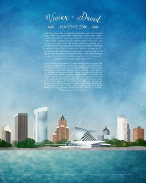 milwaukee KETUBAH wisconsin cityscape skyline colorado contemporary art modern judaica jewish wedding
