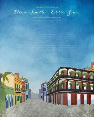 New Orleans Wedding Certificate Quaker Marriage Certificate cityscape skyline louisiana