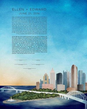 Pittsburgh KETUBAH pennsylvania cityscape skyline colorado contemporary art modern judaica jewish wedding