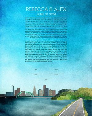providence KETUBAH rhode island cityscape skyline colorado contemporary art modern judaica jewish wedding