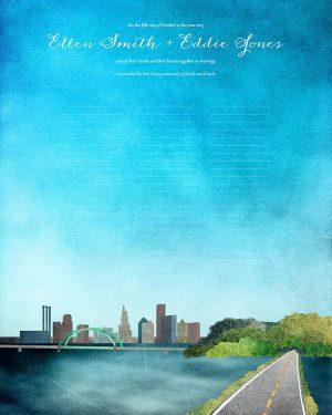 Providence wedding certificate rhode island skyline cityscape quaker marriage certificate