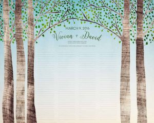 Birch Trees - Summer - wedding certificate quaker marriage certificate