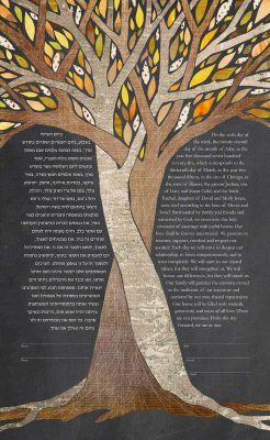 Intertwined Trees Ketubah - Crush - Dark - mock up