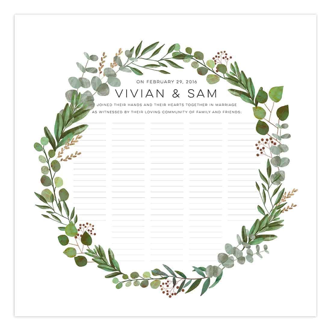 Good Earth Circle Botanical Wedding Certificate