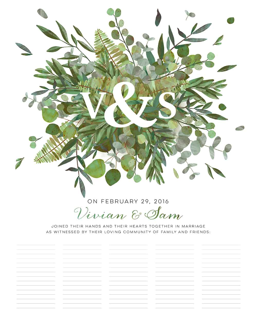 Good Earth Burst Botanical Wedding Certificate • Ink With Intent