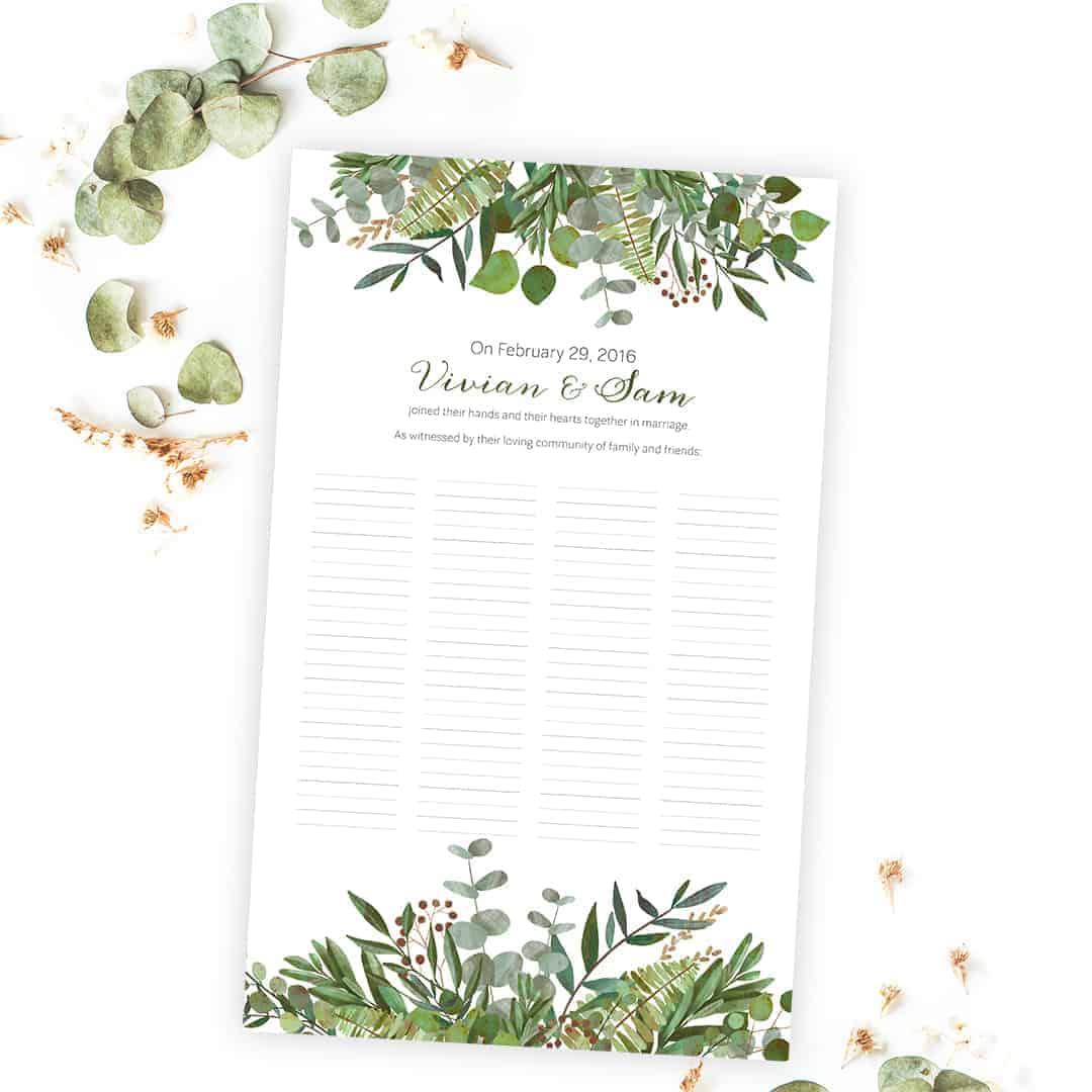Good Earth Botanical Wedding Certificate