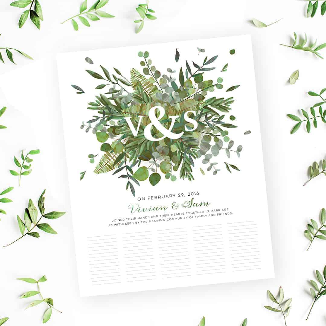 Good earth burst botanical wedding certificate