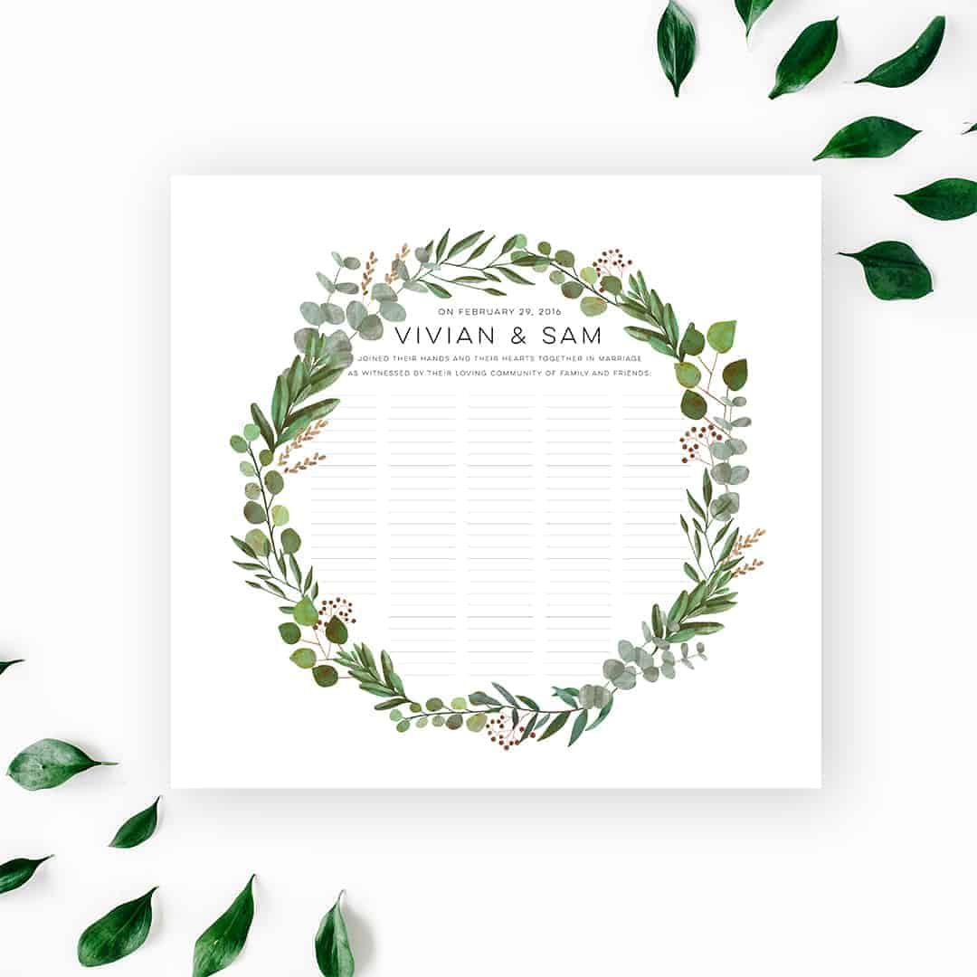 Good Earth Circle Botanical Wedding Certificate
