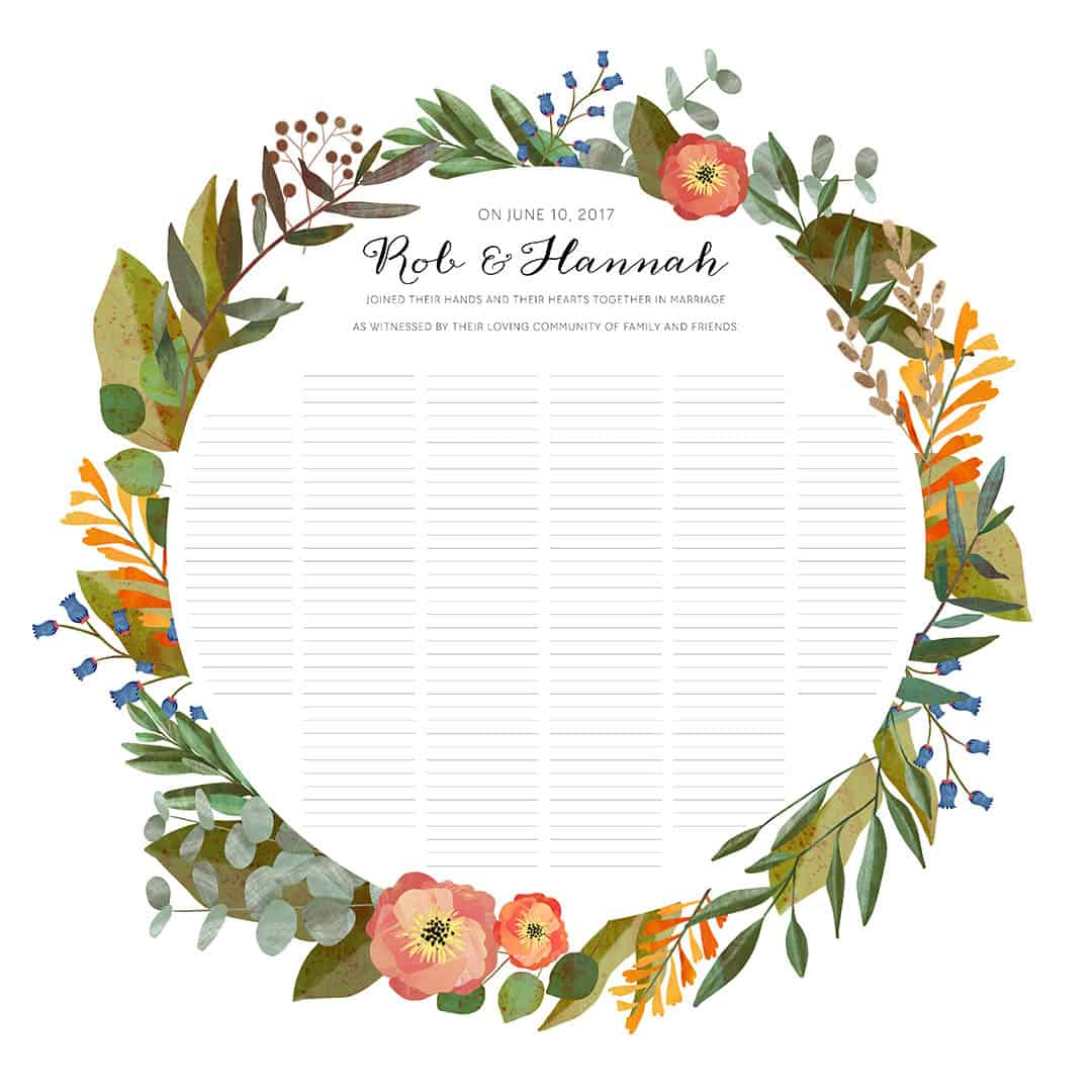 good earth circle floral botanical wedding certificate ink with intent