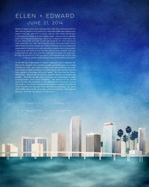 Miami KETUBAH florida cityscape skyline colorado contemporary art modern judaica jewish wedding