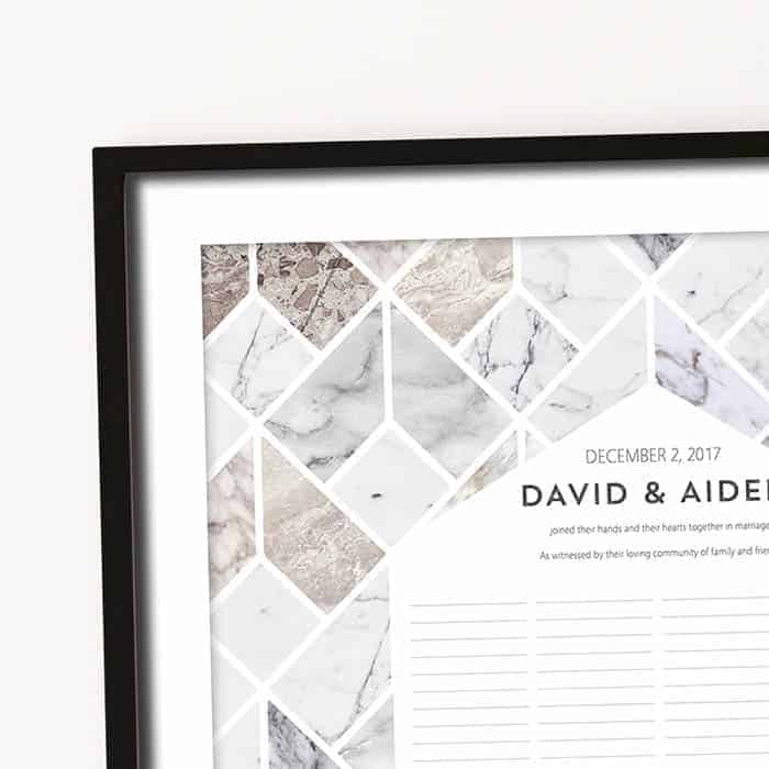 Marble Geometric Wedding Certificate