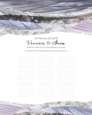 Marble Waves Wedding Certificate Amethyst Quaker Marriage Certificate