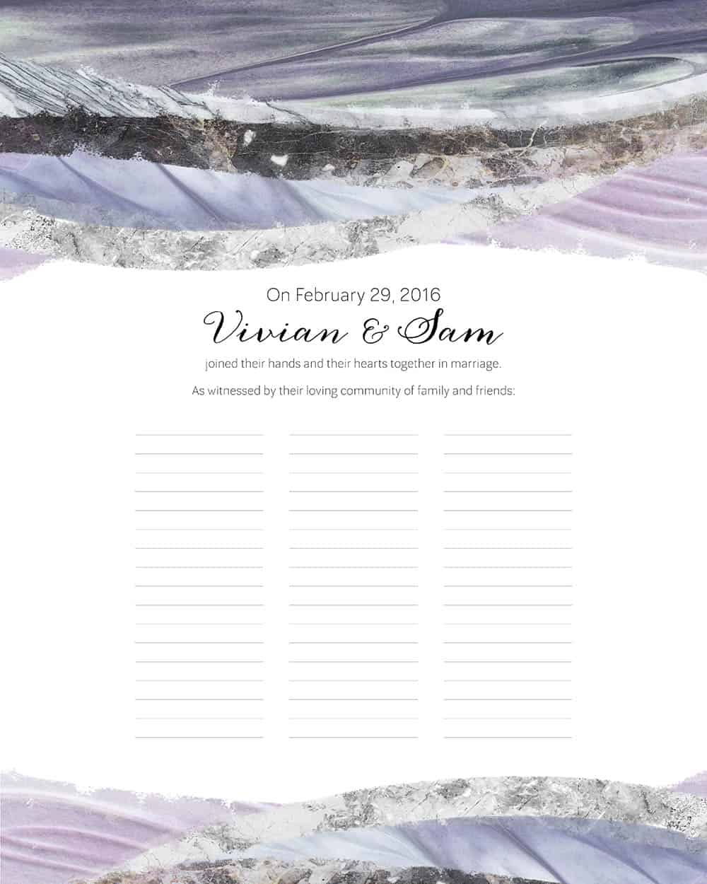 Marble Waves Wedding Certificate Amethyst Ink With Intent