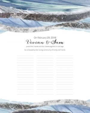 Marble Waves Wedding Certificate Azure Quaker Marriage Certificate