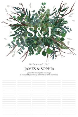 Winter Botanicals Wedding Certificate
