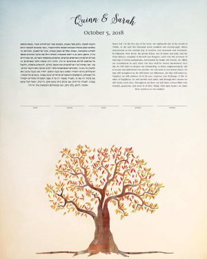 fall tree at twilight ketubah autumn wedding simple foliage warm