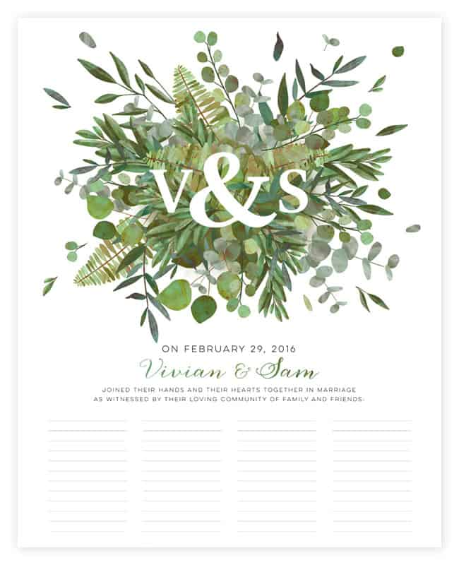 Botanical Wedding Certificates