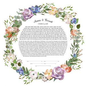 Roses, Hydrangeas and Ranunculus Ketubah