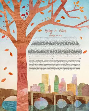 Twin Cities in Autumn Ketubah